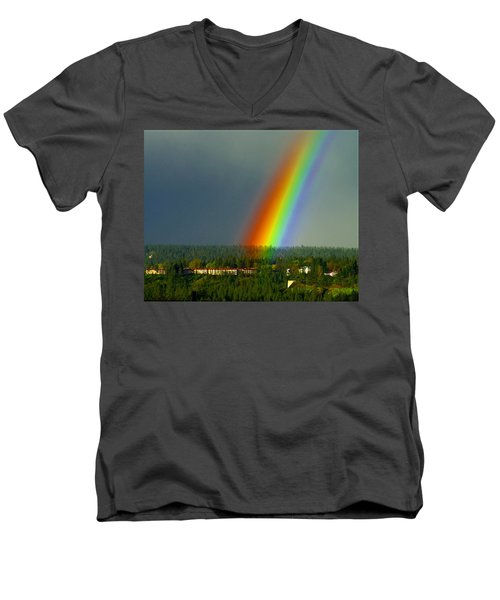 A Rainbow Blessing Spokane Men's V-Neck T-Shirt