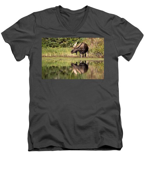 A Reflective Mood Men's V-Neck T-Shirt by Jack Bell