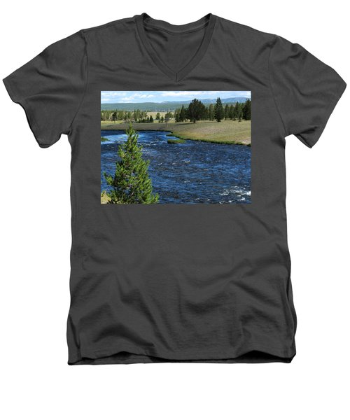 Men's V-Neck T-Shirt featuring the photograph A River Runs Through Yellowstone by Laurel Powell