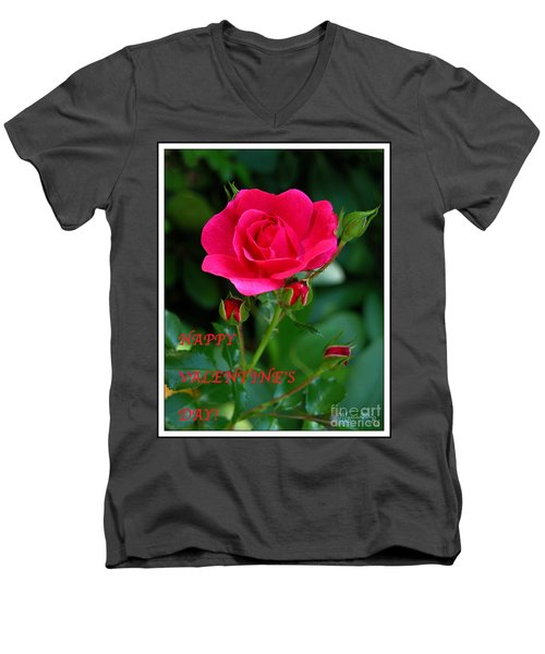 Men's V-Neck T-Shirt featuring the photograph A Rose For Valentine's Day by Mariarosa Rockefeller
