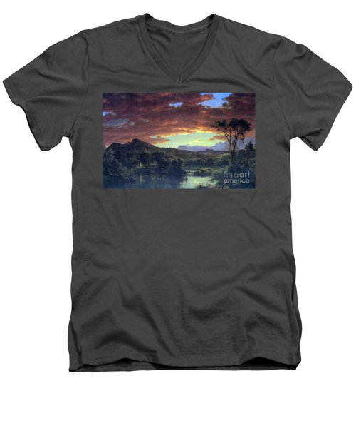 A Rural Home By Frederick Edwin Church Men's V-Neck T-Shirt