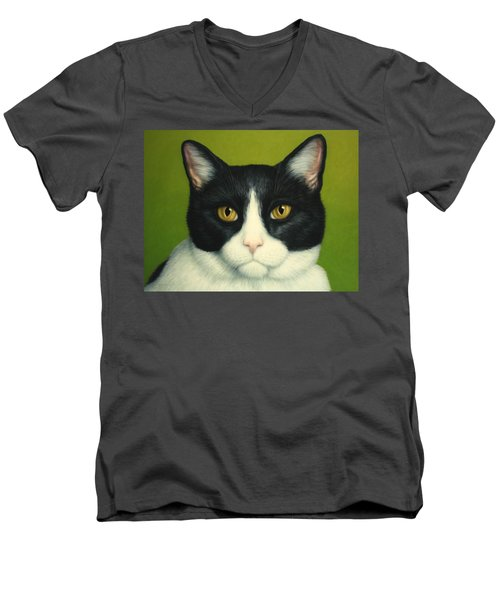 A Serious Cat Men's V-Neck T-Shirt