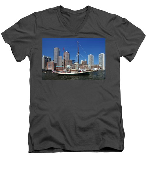 Men's V-Neck T-Shirt featuring the photograph A Ship In Boston Harbor by Mitchell Grosky