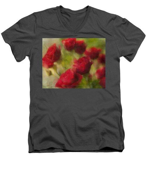 A Shower Of Roses Men's V-Neck T-Shirt