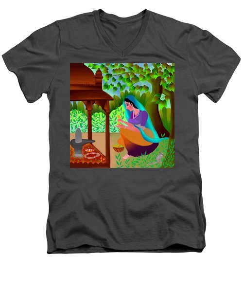 Men's V-Neck T-Shirt featuring the digital art A Silent Prayer In Solitude by Latha Gokuldas Panicker