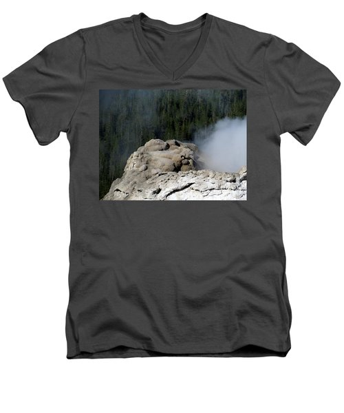 A Smoking Man. Yellowstone Hot Springs Men's V-Neck T-Shirt by Ausra Huntington nee Paulauskaite