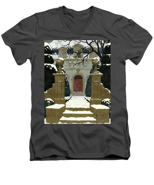 A Snow Covered Pathway Leading To A Mansion Men's V-Neck T-Shirt