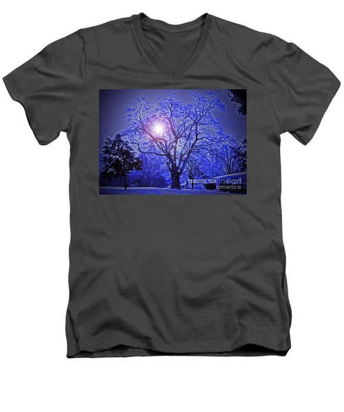 A Snow Glow Evening Men's V-Neck T-Shirt by Lydia Holly