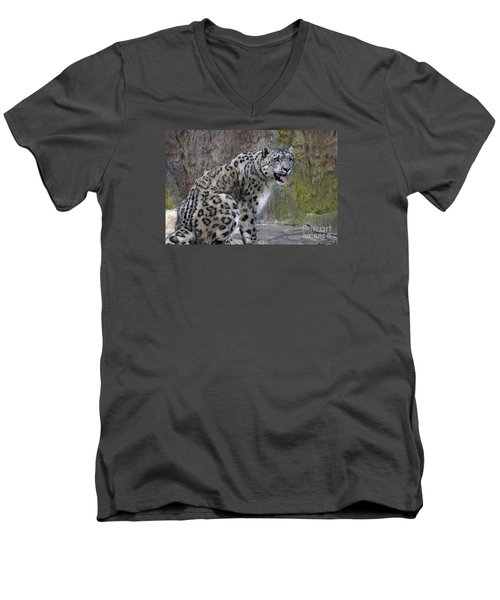 Men's V-Neck T-Shirt featuring the photograph A Snow Leopards Tongue by David Millenheft