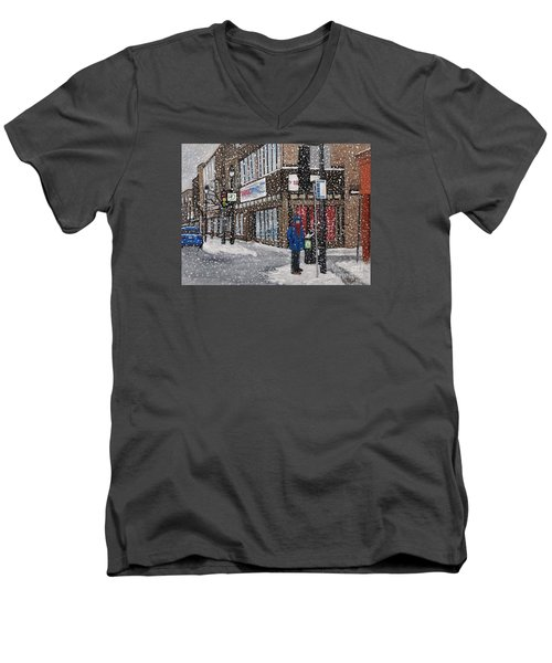 A Snowy Day On Wellington Men's V-Neck T-Shirt by Reb Frost