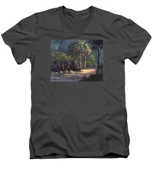 Men's V-Neck T-Shirt featuring the painting A Special Place by Michael Humphries