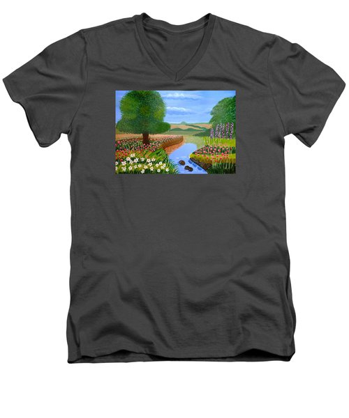 Men's V-Neck T-Shirt featuring the painting A Spring Stream by Magdalena Frohnsdorff