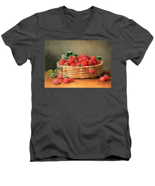 A Still Life Of Raspberries In A Wicker Basket  Men's V-Neck T-Shirt by William B Hough