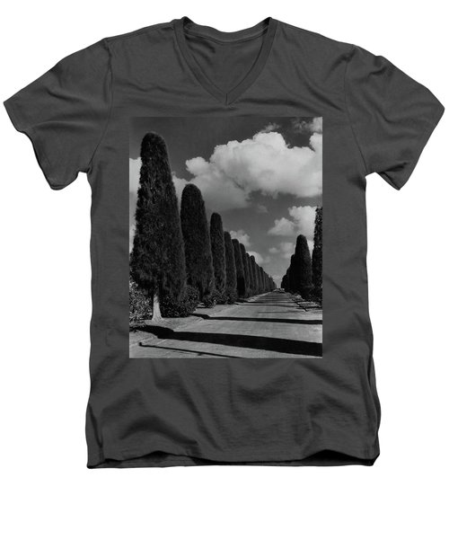 A Street Lined With Cypress Trees Men's V-Neck T-Shirt