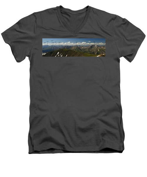 A Summit View Panorama Text Men's V-Neck T-Shirt by Jeremy Rhoades