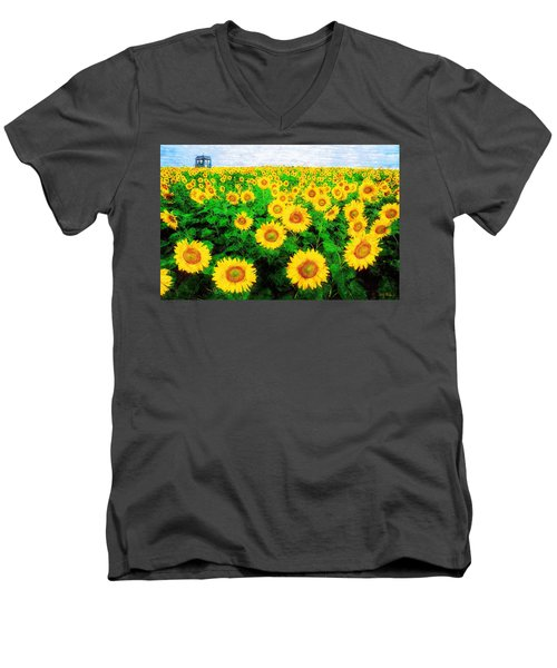 A Sunny Day With Vincent Men's V-Neck T-Shirt by Sandy MacGowan