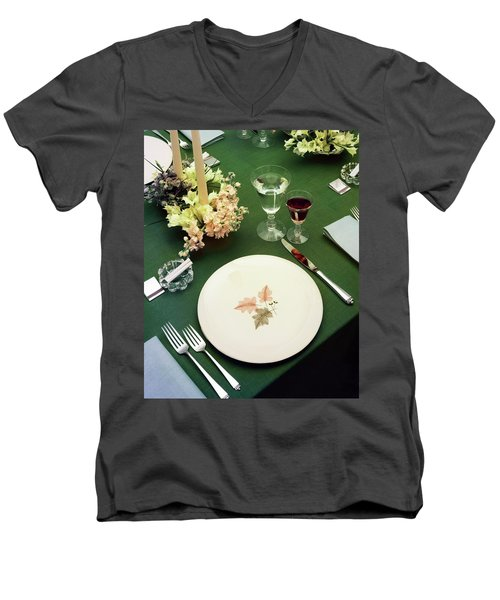 A Table Setting On A Green Tablecloth Men's V-Neck T-Shirt