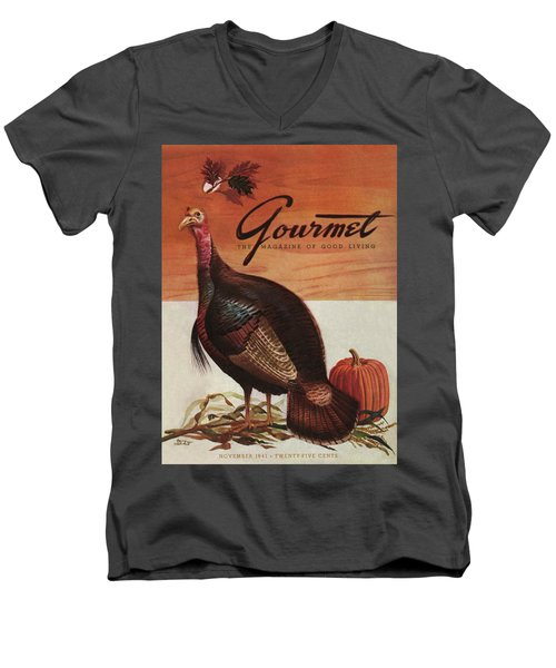 A Thanksgiving Turkey And Pumpkin Men's V-Neck T-Shirt