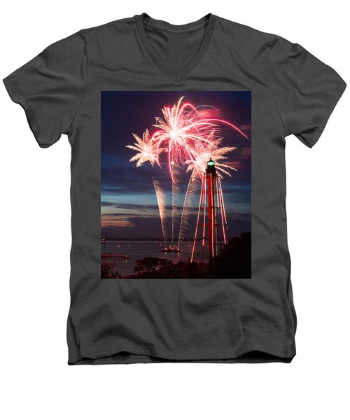 A Three Burst Salvo Of Fire For The Fourth Of July Men's V-Neck T-Shirt