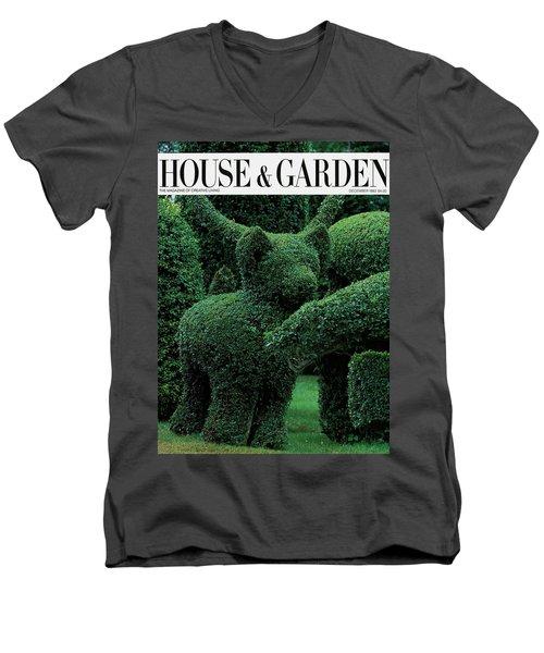 A Topiary Bear In Alice Braytons Green Animals Men's V-Neck T-Shirt
