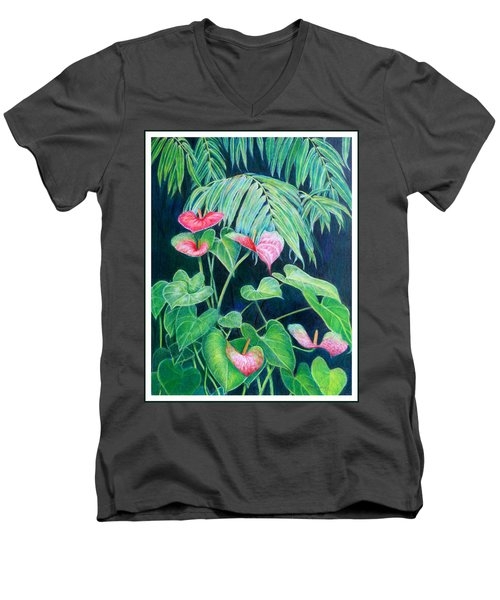 Men's V-Neck T-Shirt featuring the painting A Touch Of Red by Mariarosa Rockefeller