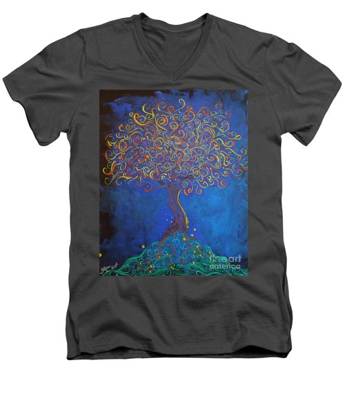 A Tree Of Orbs Glows Men's V-Neck T-Shirt
