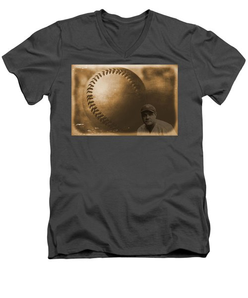 A Tribute To Babe Ruth And Baseball Men's V-Neck T-Shirt by Dan Sproul