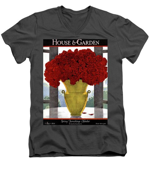 A Vase With Red Roses Men's V-Neck T-Shirt