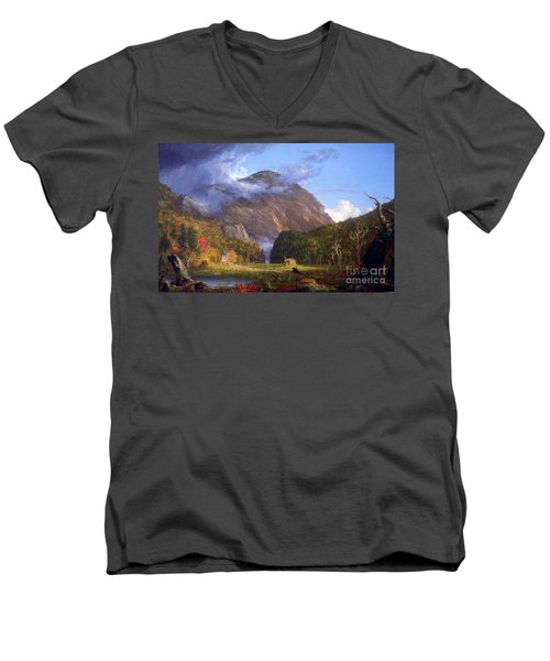 A View Of The Mountain Pass Called The Notch Of The White Mountans By Thomas Cole Men's V-Neck T-Shirt