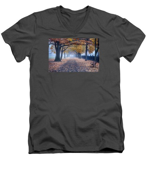 A Walk In Salem Fog Men's V-Neck T-Shirt