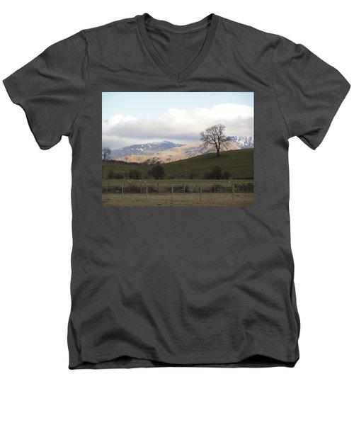 Men's V-Neck T-Shirt featuring the photograph A Walk In The Countryside In Lake District England by Tiffany Erdman