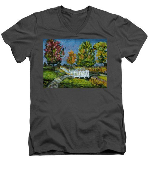 Men's V-Neck T-Shirt featuring the painting A Walk In The Park by Michael Daniels