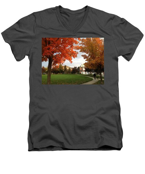 A Walk In The Park Men's V-Neck T-Shirt by Pema Hou