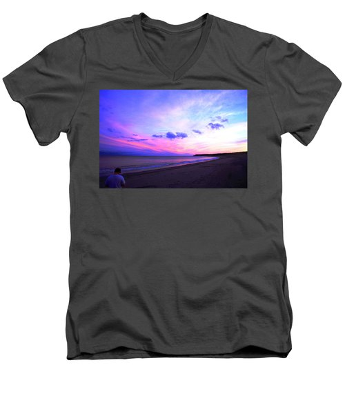 A Walk On The Beach Men's V-Neck T-Shirt by Jason Lees