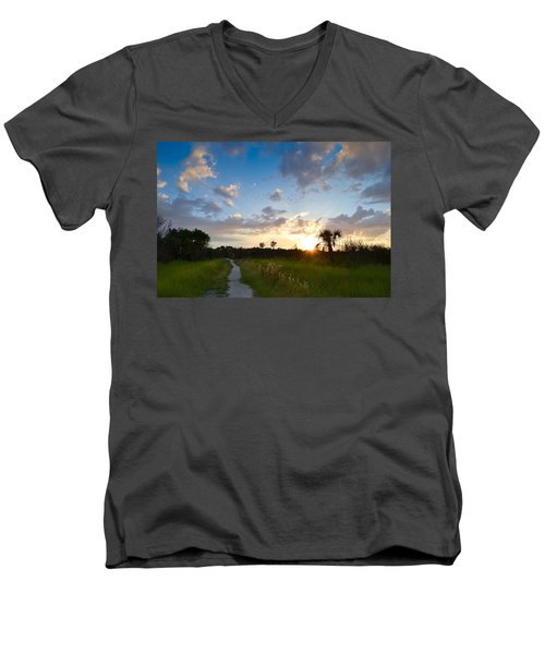 Men's V-Neck T-Shirt featuring the photograph A Walk With You... by Melanie Moraga