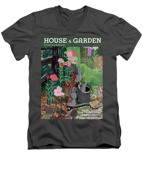 A Watering Can And A Shovel By A Flower Bed Men's V-Neck T-Shirt