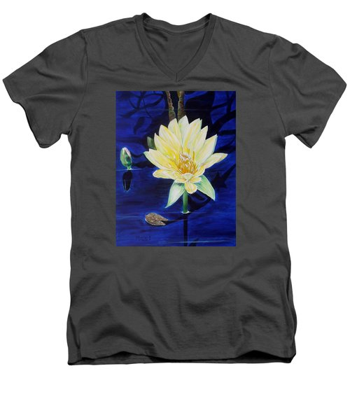 Men's V-Neck T-Shirt featuring the painting A Waterlily by Marilyn  McNish