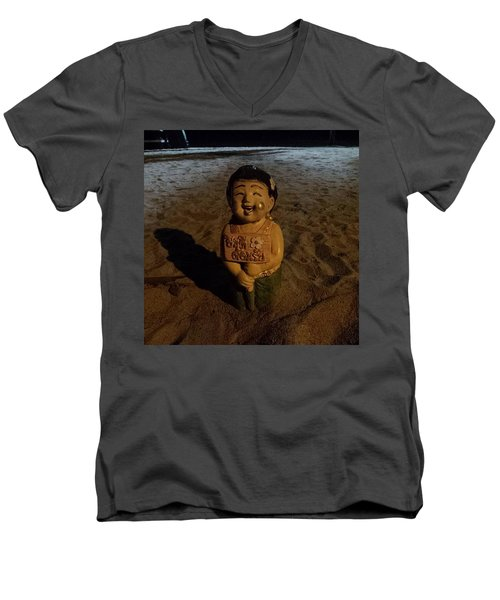 Men's V-Neck T-Shirt featuring the photograph A Welcoming Friend On My Night Stroll by Mr Photojimsf