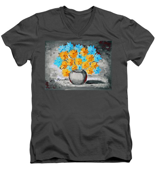 A Whole Bunch Of Daisies Selective Color II Men's V-Neck T-Shirt by Ramona Matei