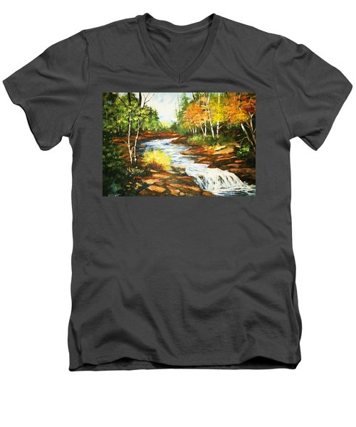 A Winding Creek In Autumn Men's V-Neck T-Shirt