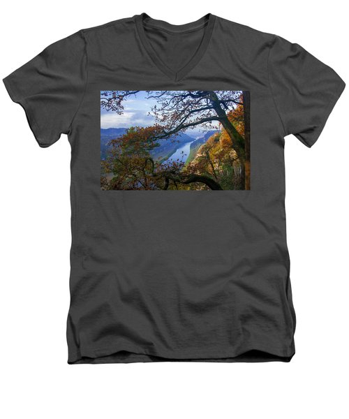 A Window To The Elbe In The Saxon Switzerland Men's V-Neck T-Shirt