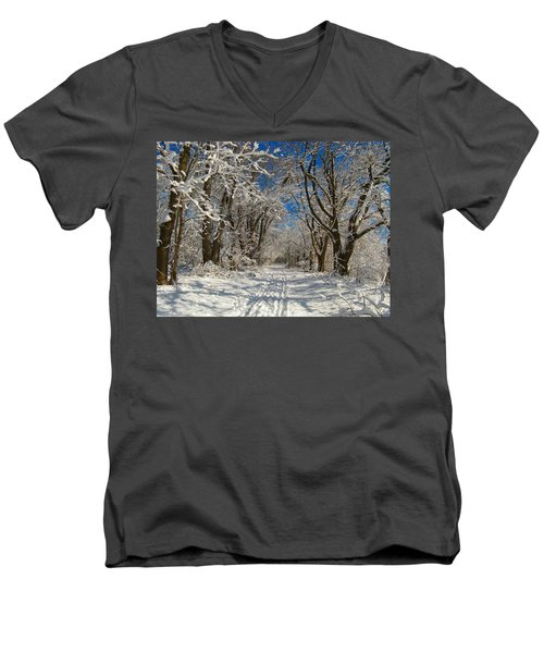 Men's V-Neck T-Shirt featuring the photograph A Winter Road by Raymond Salani III
