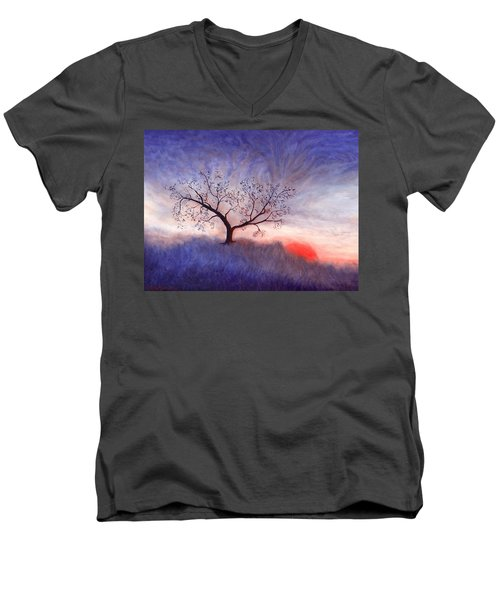 A Wintering Tree Men's V-Neck T-Shirt by Mark Minier