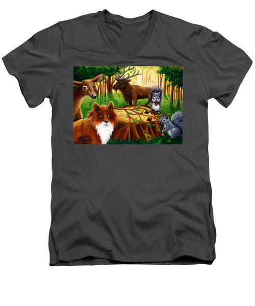 A Woodland Thanksgiving Men's V-Neck T-Shirt