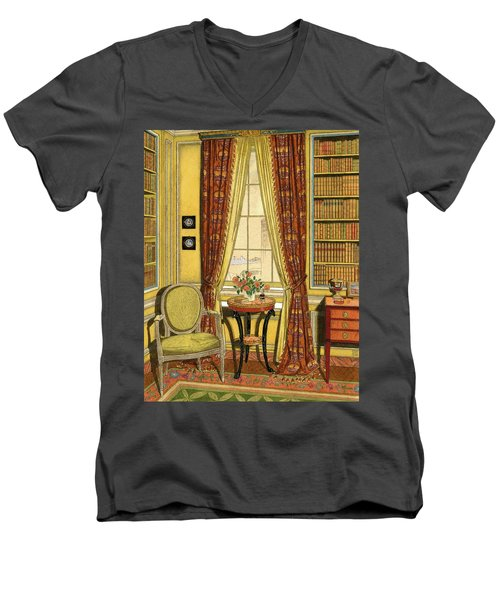 A Yellow Library With A Vase Of Flowers Men's V-Neck T-Shirt