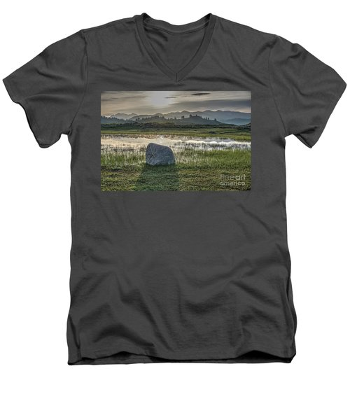 Men's V-Neck T-Shirt featuring the photograph A Yellowstone Sunrise And Hazy Morning Ridges by Bill Gabbert