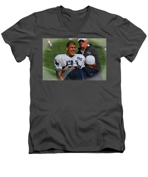 Aaron Hernandez With Patriots Coaches Men's V-Neck T-Shirt by Mike Martin