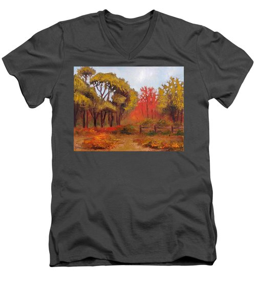 Men's V-Neck T-Shirt featuring the painting Abeel Fields by Jason Williamson