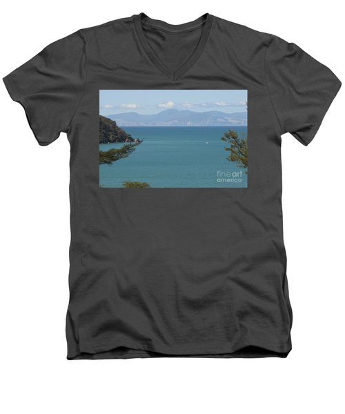 Abel Tasman Split Apple Bay New Zealand Men's V-Neck T-Shirt by Loriannah Hespe