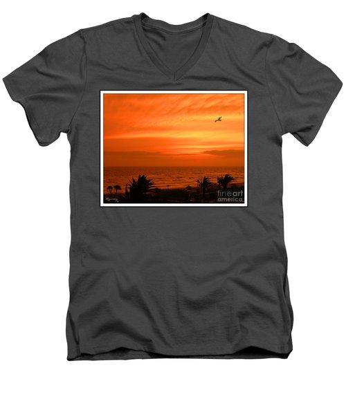 Ablaze Men's V-Neck T-Shirt by Mariarosa Rockefeller
